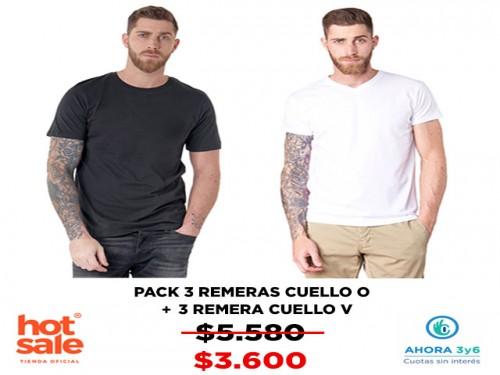 Remeras Pack X3 Cuello O y X3 Cuello V VINSON