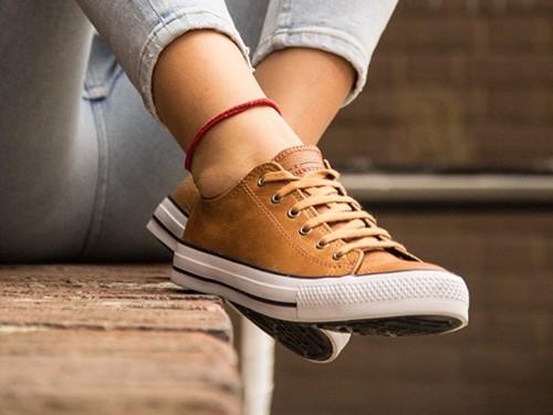 Zapatillas Urbanas De Cuero Con Base Vulcanizada Para Mujer U.S.