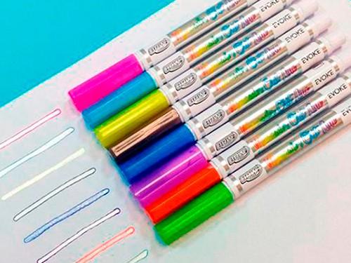 Marcador Evoke Outline Trazo Plateado Contorno Color x8 colores BRW