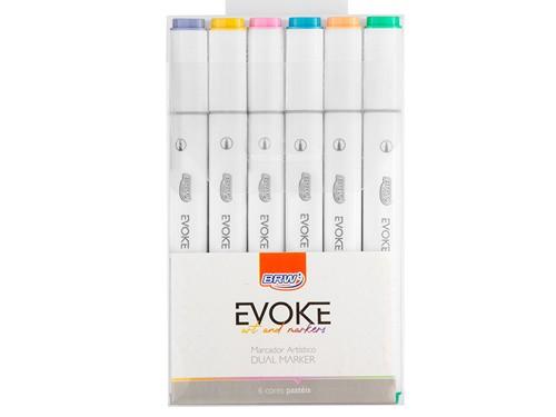 Marcador Artístico Dual Marker Pro Evoke x6 colores pastel BRW