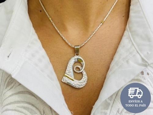 Conjunto Plata 925 y Oro Corazón Cierre Mosquetón
