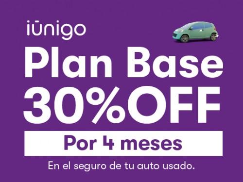 Seguro de plan base para tu auto usado con 30% OFF por 4 meses