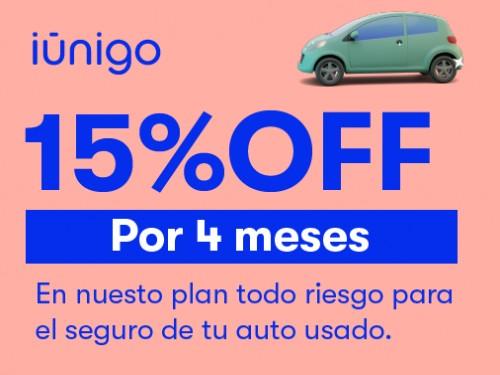 Seguro de todo riesgo para tu auto usado con 15% OFF por 4 meses