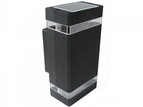Aplique bidireccional rectangular 2xGU10 Leuk Exo II negro