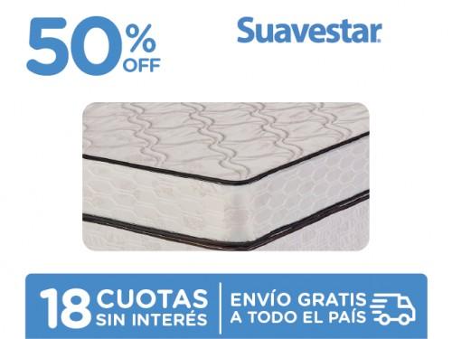 Sommier y Colchón Suavestar Deluxe 190x140 Espuma 2 Plazas