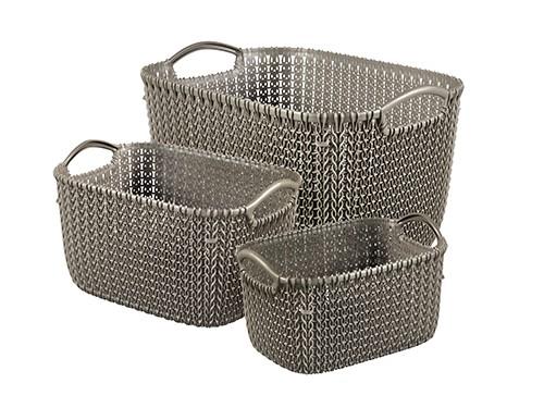 Set x3 Canastos Plasticos Organizadores Keter Knit XS-S-L