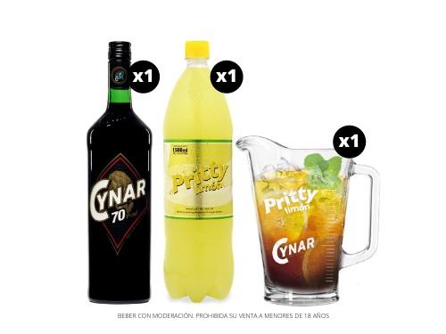 Cynar 70 + Pritty Limón 1.5 L + Jarra Vidrio 1 L.