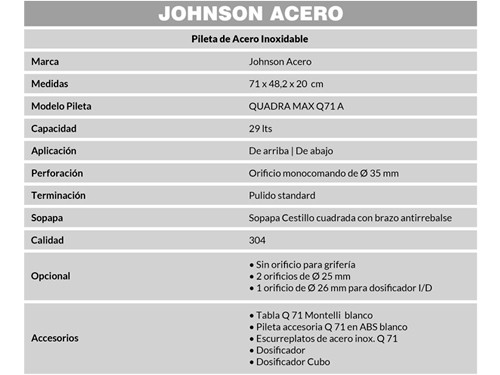 Combo Pileta Simple Quadra Max Q71 A Johnson, Canasto Secaplatos