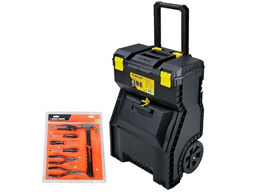 Carro de herramientas Stanley + set de 7 piezas Black&Decker
