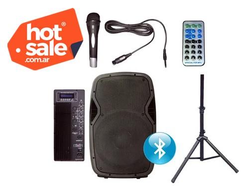 Bafle Potenciado SUNSET JPS4015B ACTIVO USB BT FM 180W C/TRIP +MIC.