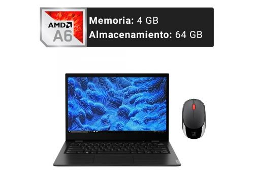 Notebook LENOVO 14p FHD AMD A6 4GB 64GB Win 10 Pro + Mouse Inalámbrico