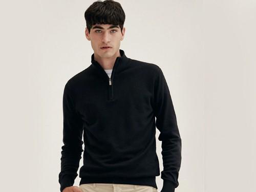 Sweater Barrow, Hombre, Cuello Alto, Algodon, Jacquard, Menguado Equus