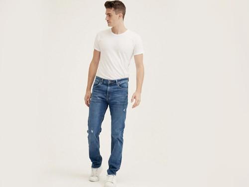 Jean 180, de Hombre, Slim Fit, Denim, Gastado Azul, Equus