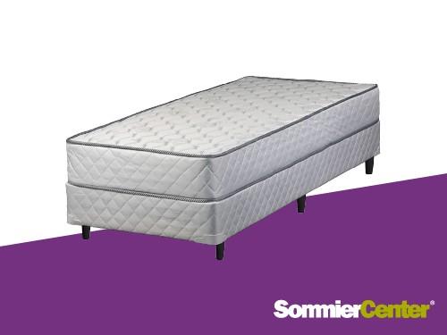 Sommier y colchón Resorte Bonnell 1 plaza 080x190x20 Jackard Telgo