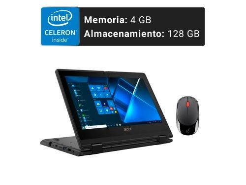 Notebook Acer 11.6p Intel 4GB 128GB W10 Táctil 2+1 + Mouse Inalambrico