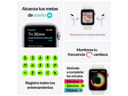 Reloj Smartwatch Apple Watch Series SE 44mm Silver MYDQ2LE/A A2352