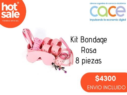 Kit de 8 Piezas de BDSM Rosa (Esposas, Antifaz, Soga, Látigo, etc.)
