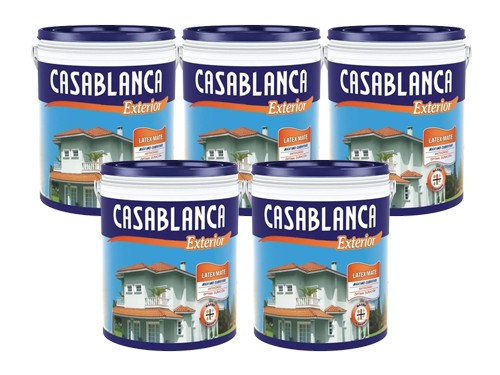 Pintura Látex Exterior Casablanca Classic blanco Promo 5 x 4 Litros