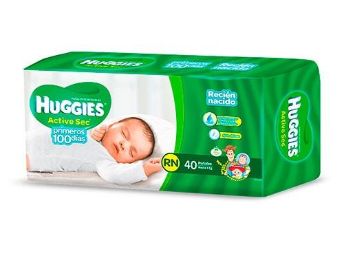 Pañales Huggies Active Sec P Y Recien Nacido X 40 un