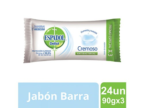 Espadol Caja Cerrada Jabon Cremoso 90gx3 Caja Cerrada X 24un