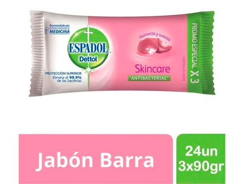 Espadol - Jabon Antibacterial Skincare Pack 24un 3 X 90 Grs
