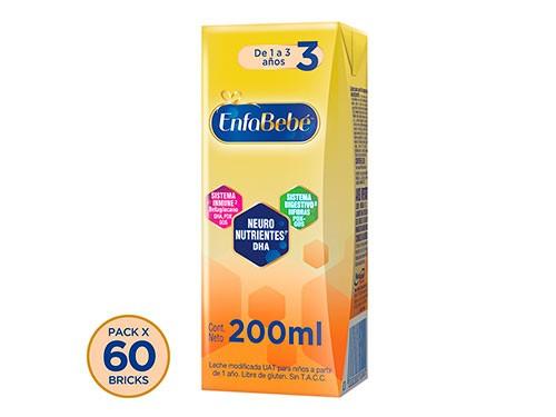 Enfabebe 3 Leche Infantil Líquida Pack 60 Bricks X 200mls