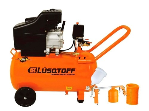 Compresor De Aire 2,5 Hp 50 Litros + Kit 5 Pz Lusqtoff
