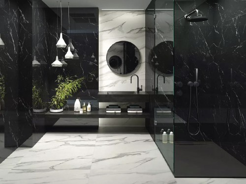 Porcelanato Rosetto Noir Laurent Marmol 62x62 Negro Pulido