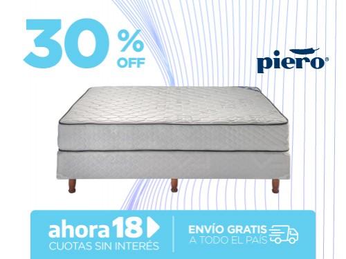 Sommier y Colchón Piero Sonno 190x140 Resortes 2 Plazas