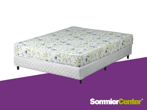 Sommier y colchón espuma densidad media 140x190x20 Tela algodón Telgo
