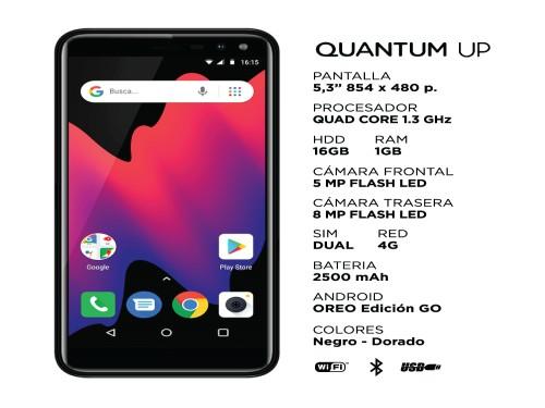 """Celular UP Negro 5.3"""" 16GB Android Go Quantum"""