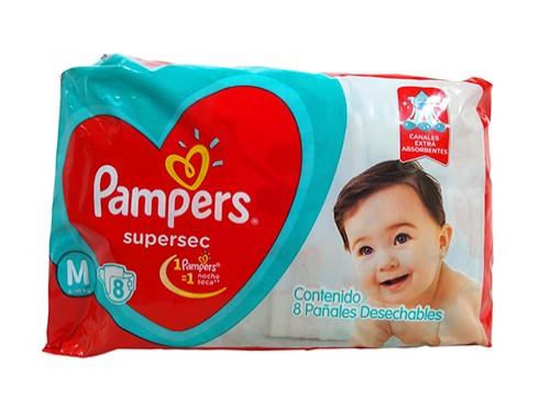 Pañales Bebés Pampers Med Supersec Regular 8 Un por 10 unidades