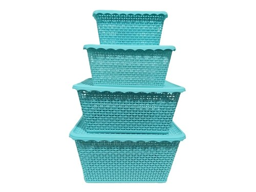 Canasto Organizador Plastico Tapa Cesto Set X 4 Hot Sale