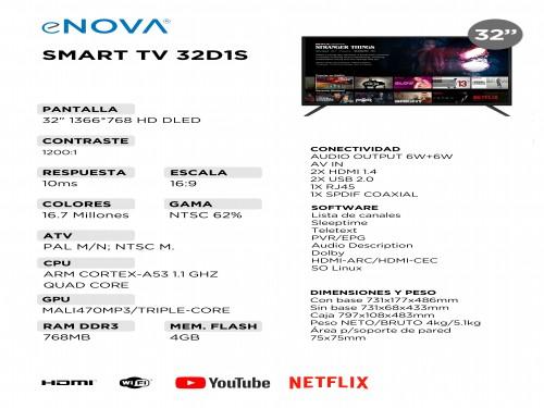 """Televisor Smart TV 32"""" LED HD eNOVA"""
