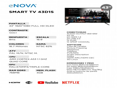 "Televisor Smart TV 43"" LED FullHD eNOVA"
