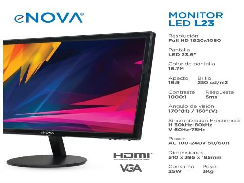 """Monitor Led 23.6"""" VGA + HDMI eNova"""