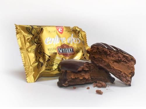 3x2 Alfajor de chocolate negro con dulce de leche al Whisky