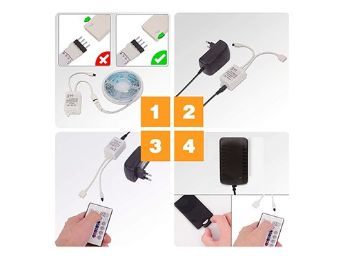 Tira Led RGB Autoadhesivas Exterior Control Remoto Fuente