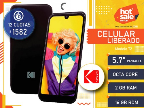 "Celular Liberado T2, Quad Core, Pant. 5.7"", Ram 2GB, Rom 16 GB, Kodak"