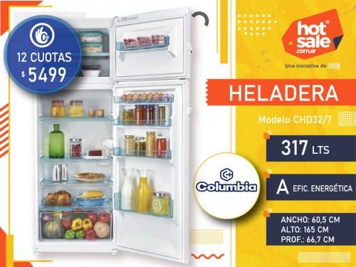 Heladera CHD32/7, 317Lts, Blanca, Freezer, Anaquel en puerta, Columbia