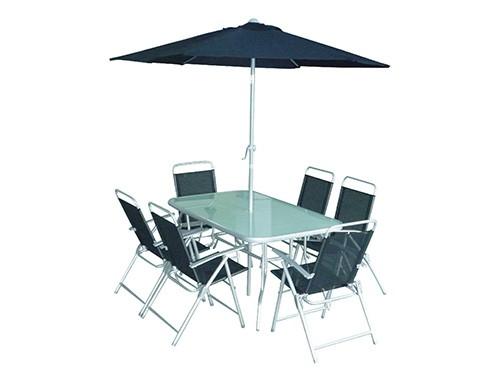 Set de Jardin Mesa + 6 Sillas + Sombrilla Negro