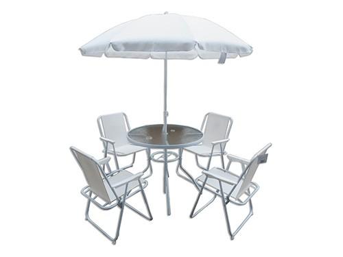 Set de Jardin Mesa + 4 Sillas + Sombrilla Crudo