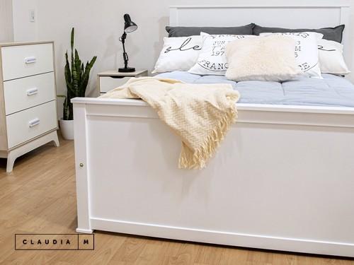 Cama de 2 plazas Palermo laqueada blanca para colchón de 1,40x1,90m