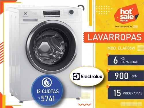 Lavarropas ELAF06W, Carga Frontal, 6kg, 900 RPM, 15 prog.  Electrolux