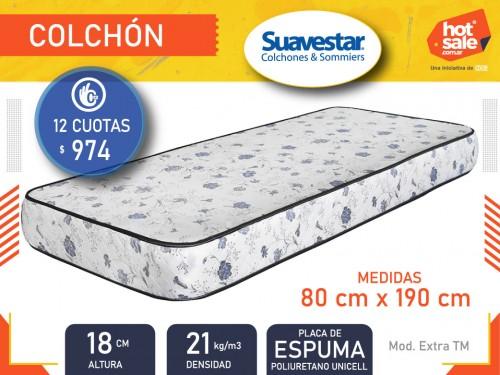 Colchón Extra 80x1.90x0.18 espuma Banda matelasseada, Suavestar