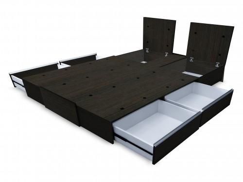 Cama Sommier 2 Plazas Box Con Cajones Corredera Telescopica Y Baulera