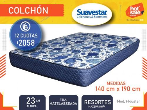 Colchón Floustar 1.40x1.90x0.23 resortes Maxspring matelas., Suavestar