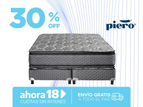 Sommier y Colchón Piero Regno Pillow 200x160 Resortes Queen
