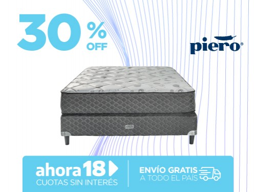 Sommier y Colchón Piero Regno 190x140 Resortes 2 Plazas