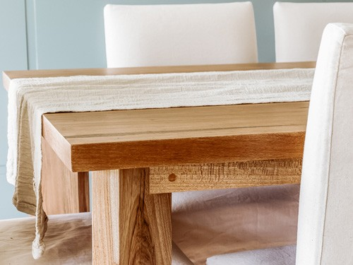 Mesa de comedor de madera de petiribi rectangular
